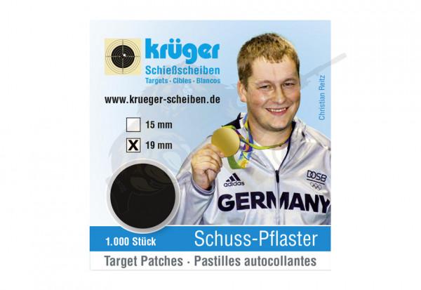 Schusspflaster 19mm schwarz - Krüger