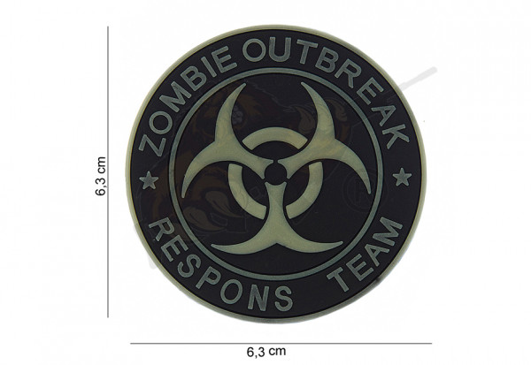 3D Rubber Patch *2 Zombie Outbreak Respons Team - Black