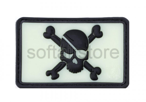 JTG - Pirate Skull Patch, blackghost-gid (glow in the dark)