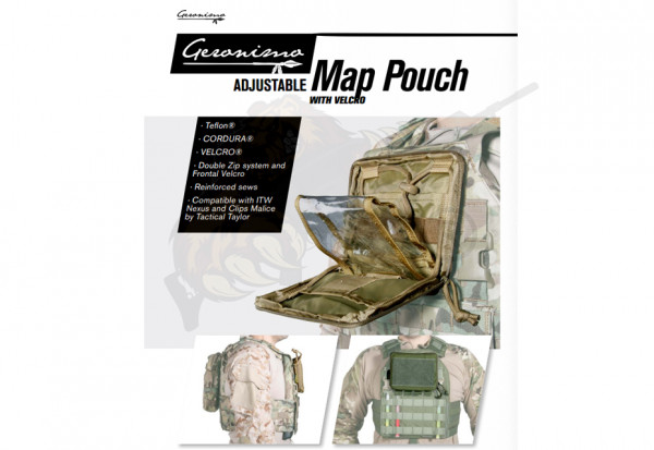 Adjustable Admin / Map Pouch mit Klett Oliv - Geronimo