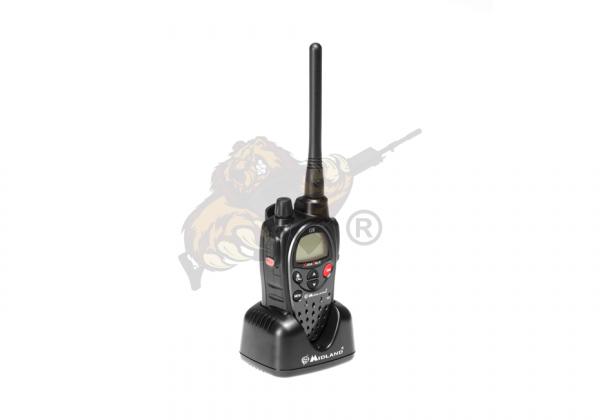 Midland G9E PMR Funkgerät mit Vibrationsalarm in schwarz incl.Standlader und Akkus (1800mAh)