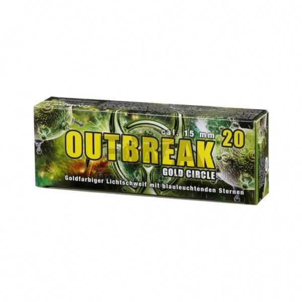 Outbreak Gold Circle Feuerwerk - 20 Raketengeschosse